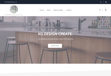 Screenshot of KG Design ecommerce website
