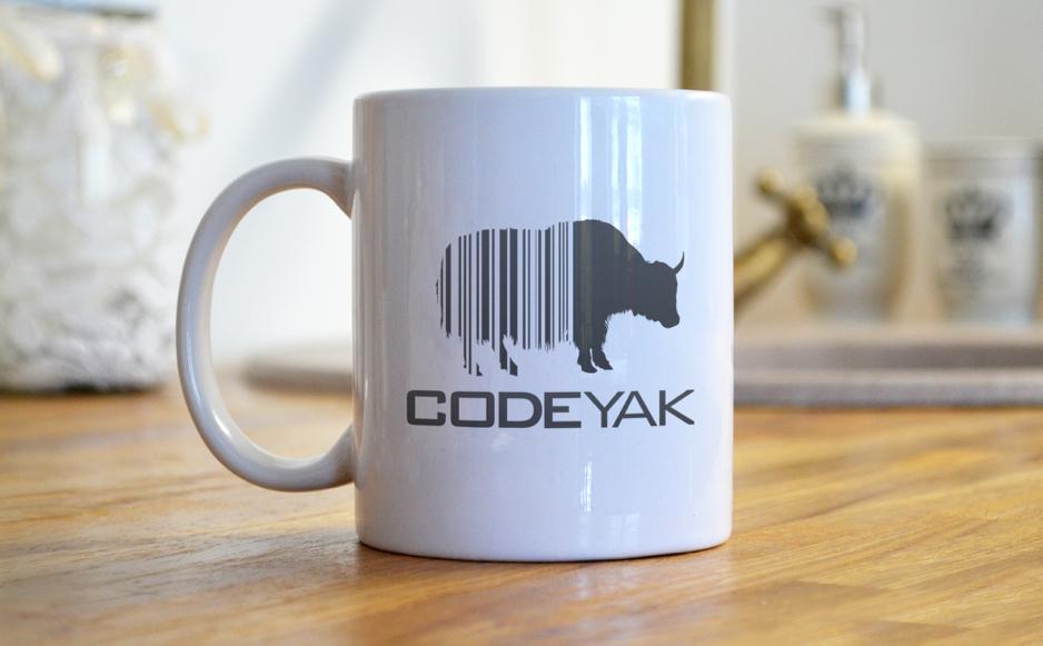 Codeyak logo on mug