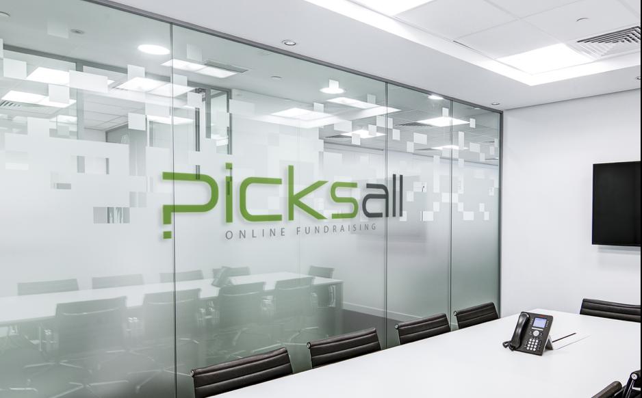 Picksall logo on office wall