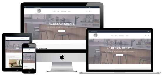 KG Design ecommerce website screenshots