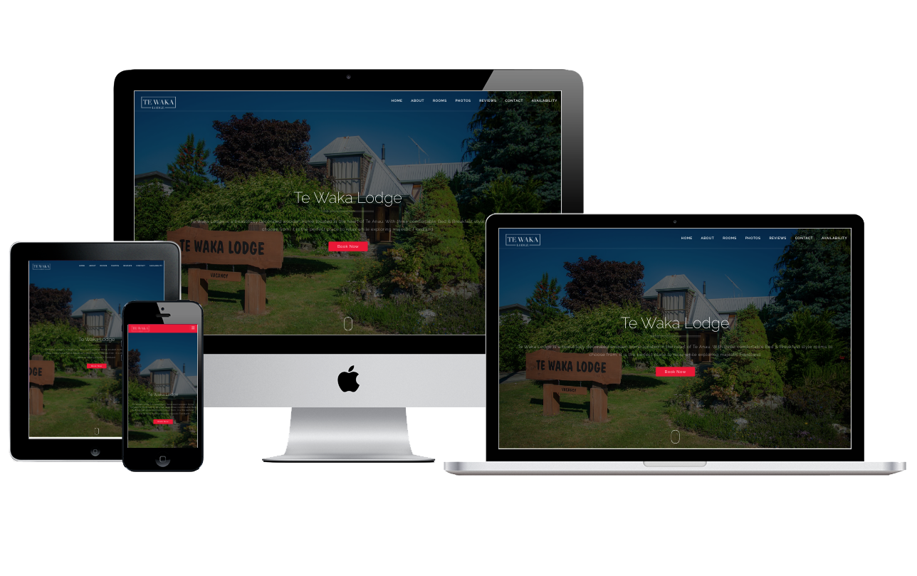 Te Waka Lodge Website screenshots